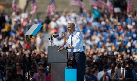 Barack Obama stumps in Philly in 2016. (Getty Images)