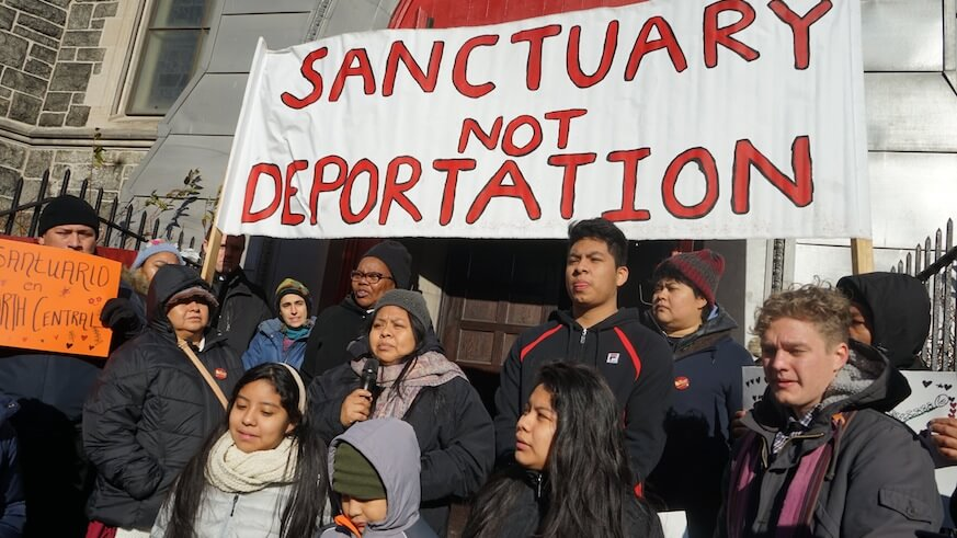 Carmela Hernandez took sanctuary eight months ago in Kensington and is still there at present.