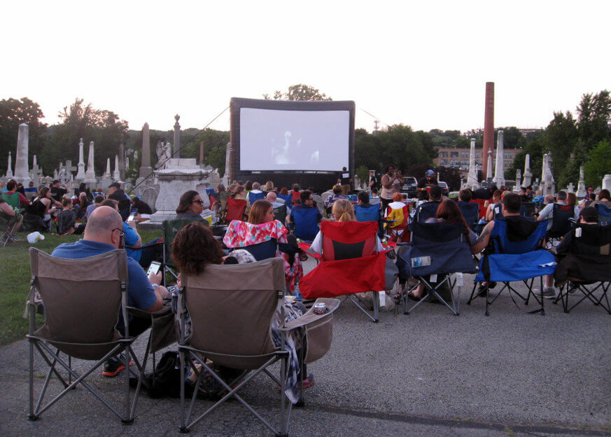 The crowd waits for the film to begin at Laurel Hill Cemetery. | Provided